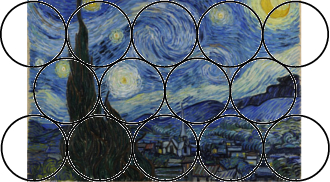 Circular receptive fields overlaying 'The Starry Night', analysing neighbouring swirls