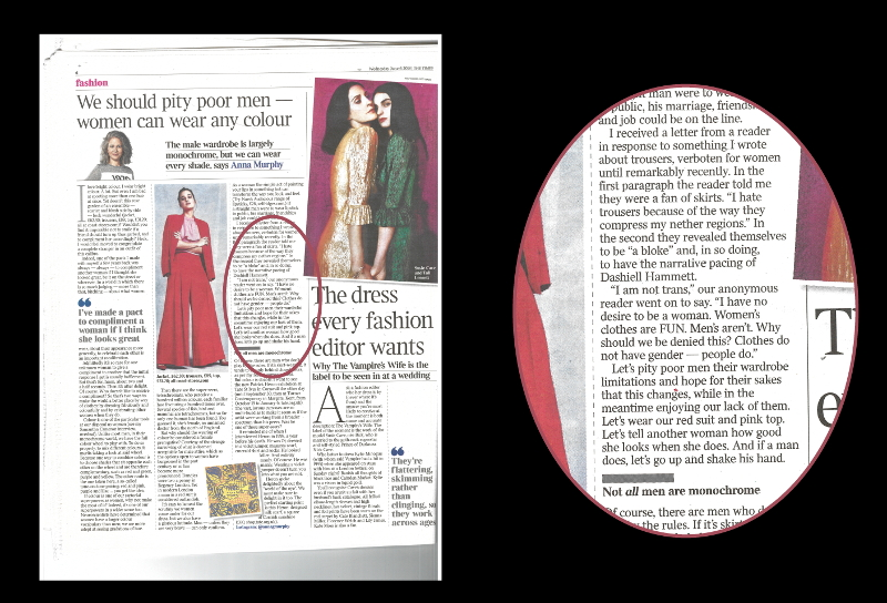 Scan of 'Times 2' fashion article for 6 June 2018, with the title 'We should pity poor men — women can wear any colour'