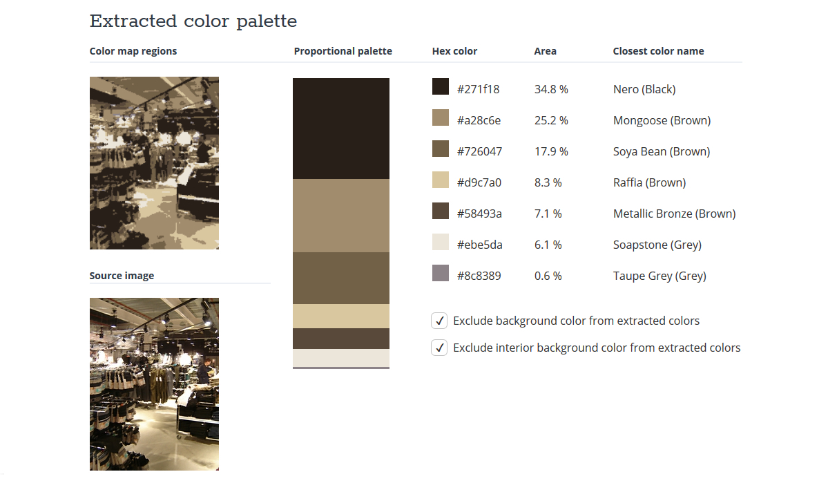 Colour palette from TinEye for the photo of Primark used in 'Primark and the Spectrum Suckers', with a copy of the photo reduced to that set of colours. The palette contains four shades of brown, two shades of grey, and a black.